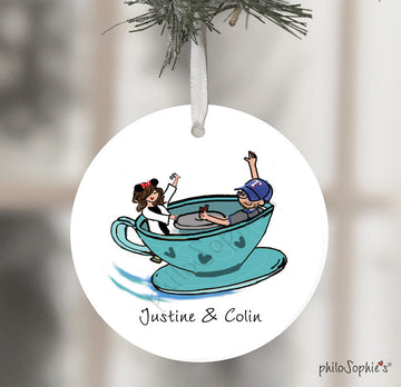 Tea Cups Disney Engagement Wine Tag/Ornament
