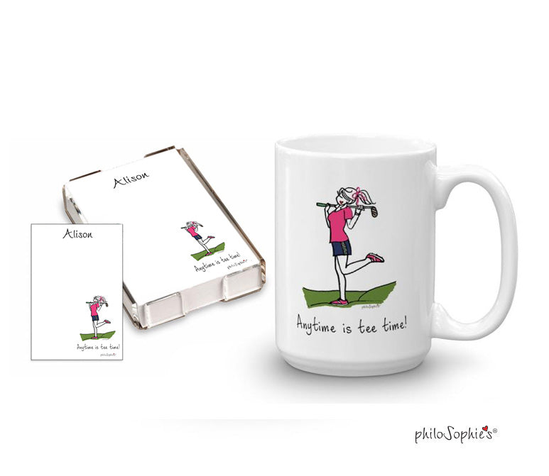Anytime is tee time quick  note & mug  gift set - philoSophie's®