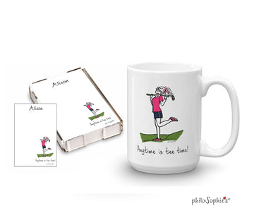 Anytime is tee time quick  note & mug  gift set