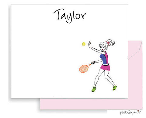 Tennis Player personalized flat notes - philoSophie's®