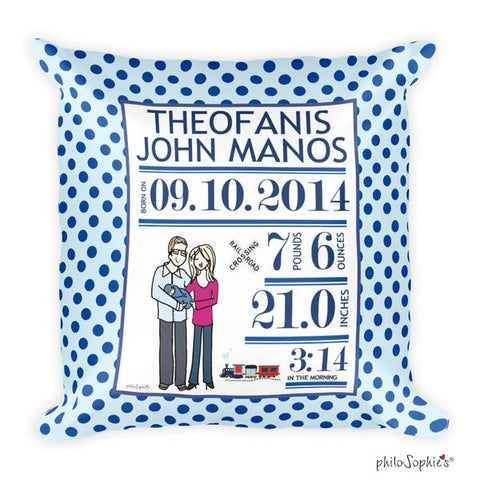 Train Baby Announcement Pillow