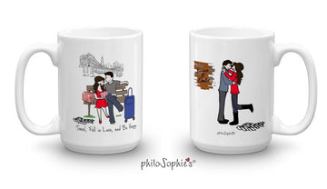 Travel, Fall in Love, Be Happy Mug Pair