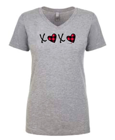 XOXO Valentine V Neck Short Sleeve Shirt