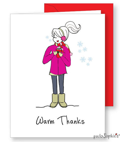 Warm Thanks - Winter Thank You Greeting Card