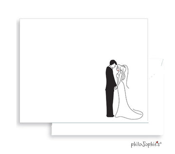 10 Wedding Couple Flat Notes with Envelopes