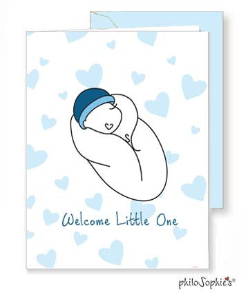 Welcome Little One - Baby Boy Greeting Card - philoSophie's®