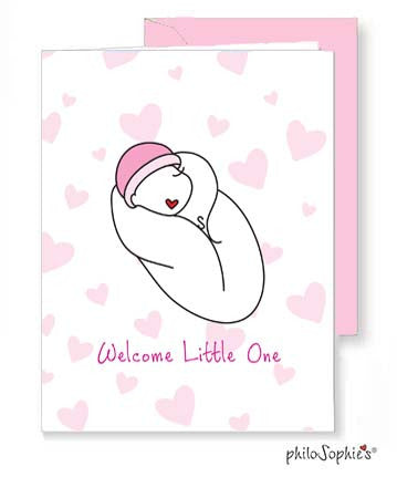 Welcome Little One - Baby Girl Greeting Card
