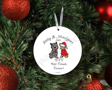 Pet - Holiday Spirit Sidekick,  BFF - Best Fur Friends, Dog or Cat Personalized Ornament