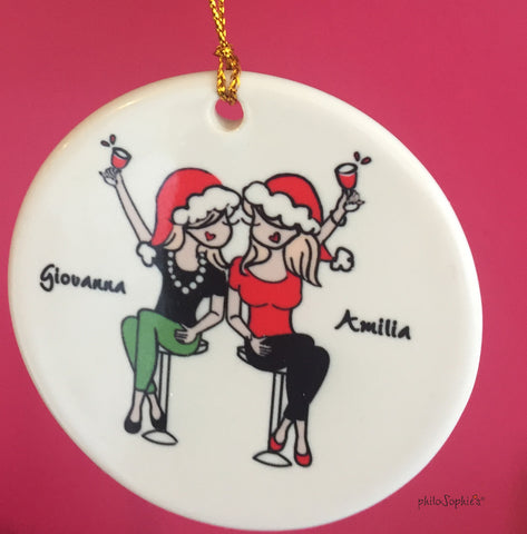 Cheers to Friendship Ornament with Wine personalized philosophie's