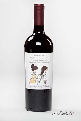 Will you be my bridesmaid?/ Thank you for being ..... wine labels