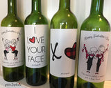 Set of 4 Galentine/Valentine Wine Labels - philoSophie's®