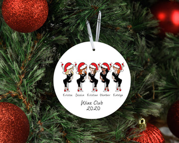 Personalized Festive Best Friends & Wine  - Xmas Tree Ornament
