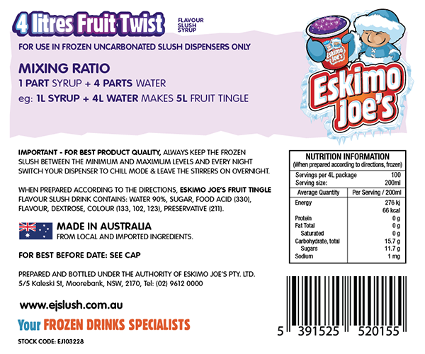 Mixed Classic Slush Syrups - 1 x Fruit Twist, 1 x Orange, 1 x Pineapple - 4 Litre Bottles - Eskimo Joe's Australia - 2