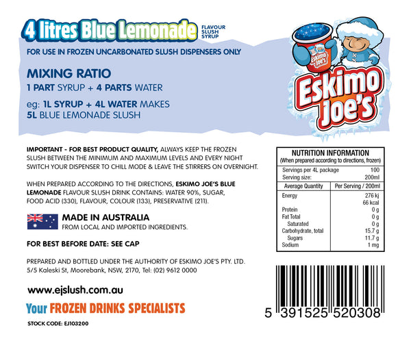 Blue Lemonade Slush Syrup - 3 x 4 Litre Bottles - Eskimo Joe's Australia - 3