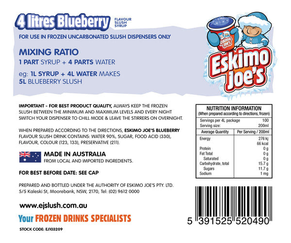 Blueberry Slush Syrup - 3 x 4 Litre Bottles - Eskimo Joe's Australia - 3