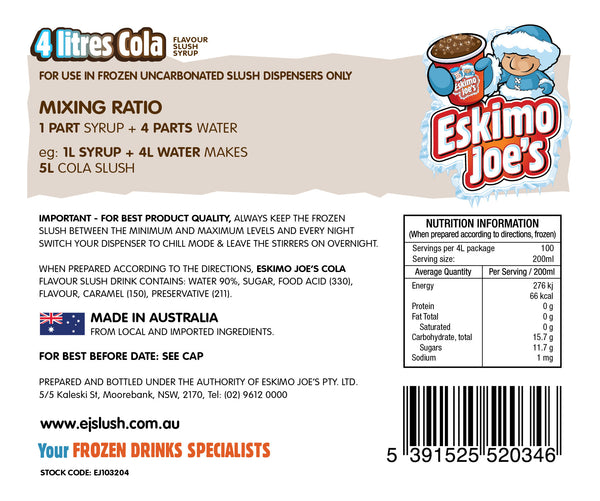 Mixed Classic Slush Syrups - 1 x Blue Lemonade, 1 x Strawberry, 1 x Cola - 4 Litre Bottles - Eskimo Joe's Australia - 3