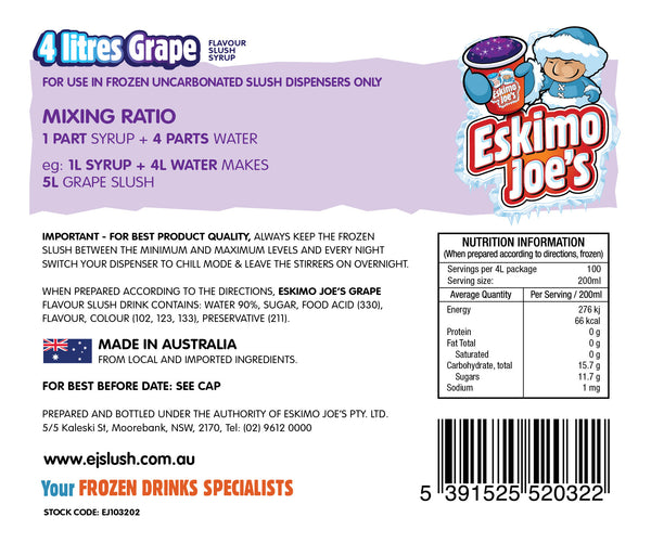 Grape Slush Syrup - 3 x 4 Litre Bottles - Eskimo Joe's Australia - 3