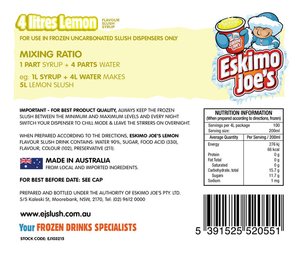 Lemon Slush Syrup - 3 x 4 Litre Bottles - Eskimo Joe's Australia - 3