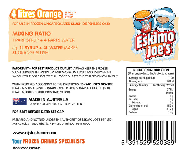 Mixed Classic Slush Syrups - 1 x Fruit Twist, 1 x Orange, 1 x Pineapple - 4 Litre Bottles - Eskimo Joe's Australia - 3
