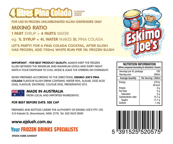 Mixed Cocktail Slush Syrups - 1 x Frosé, 1 x Fruit Tingle, 1 x Pina Colada - 4 Litre Bottles - Eskimo Joe's Australia - 4