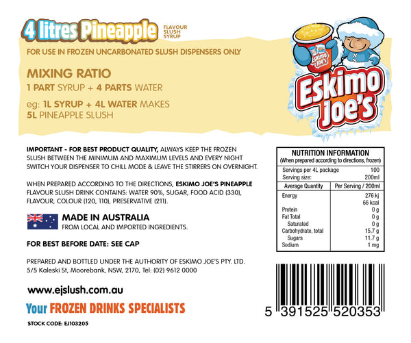 Mixed Classic Slush Syrups - 1 x Fruit Twist, 1 x Orange, 1 x Pineapple - 4 Litre Bottles - Eskimo Joe's Australia - 4