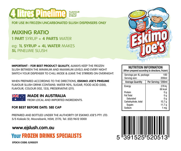 Mixed Classic Slush Syrups - 1 x Pine Lime, 1 x Watermelon, 1 x Blueberry - 4 Litre Bottles - Eskimo Joe's Australia - 2