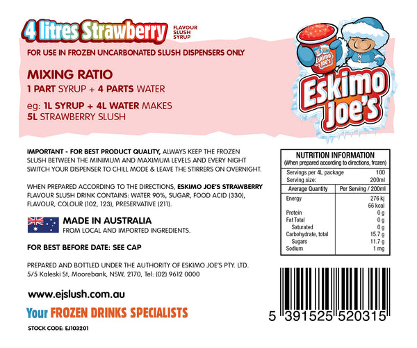 Strawberry Slush Syrup - 3 x 4 Litre Bottles - Eskimo Joe's Australia - 3