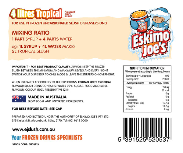 Tropical Slush Syrup - 3 x 4 Litre Bottles - Eskimo Joe's Australia - 3