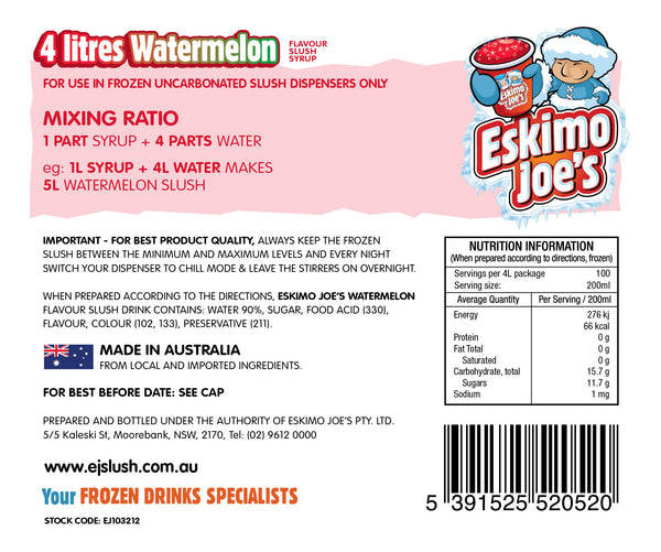 Watermelon Slush Syrup - 3 x 4 Litre Bottles - Eskimo Joe's Australia - 3