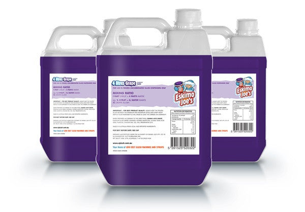 Grape Slush Syrup - 3 x 4 Litre Bottles - Eskimo Joe's Australia - 2