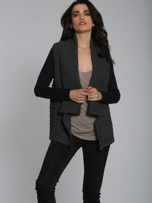 City Cable Cardigan - Charcoal