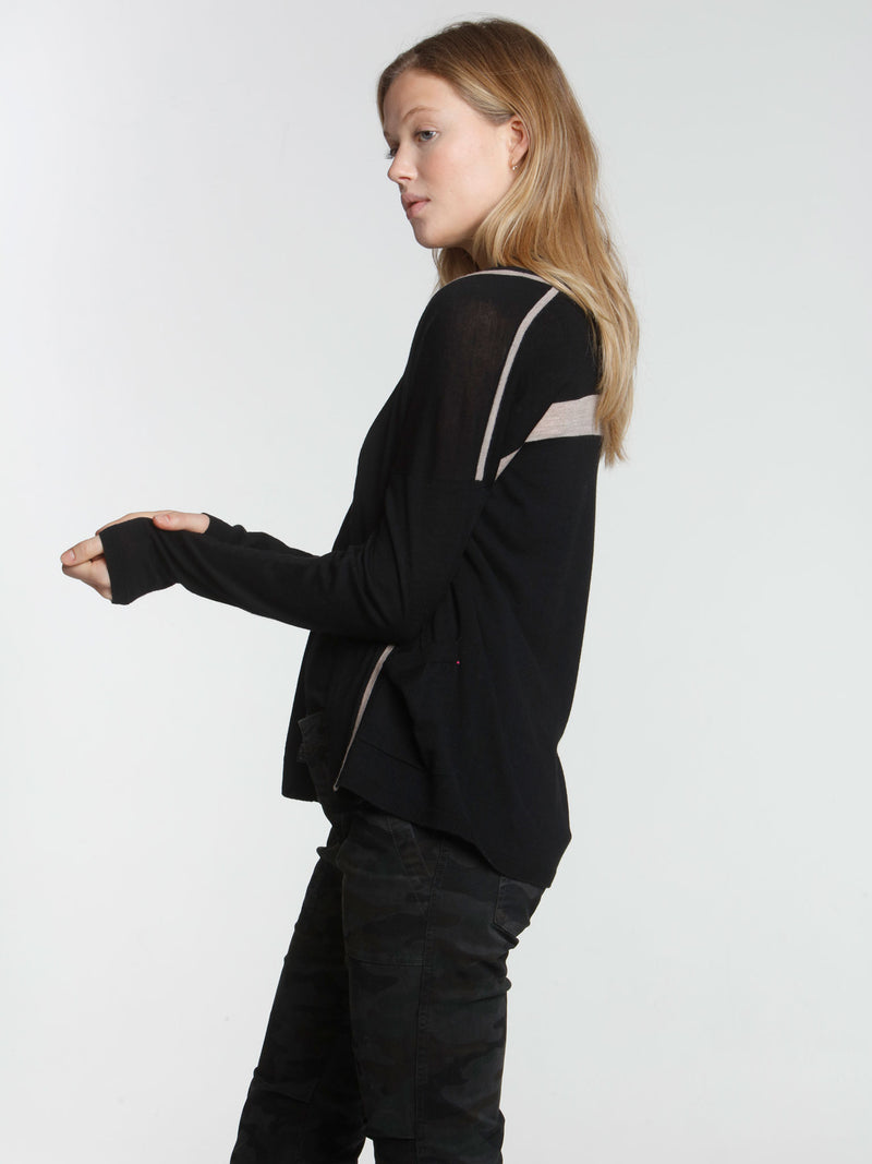 Brooklyn Drape Cardigan - Black