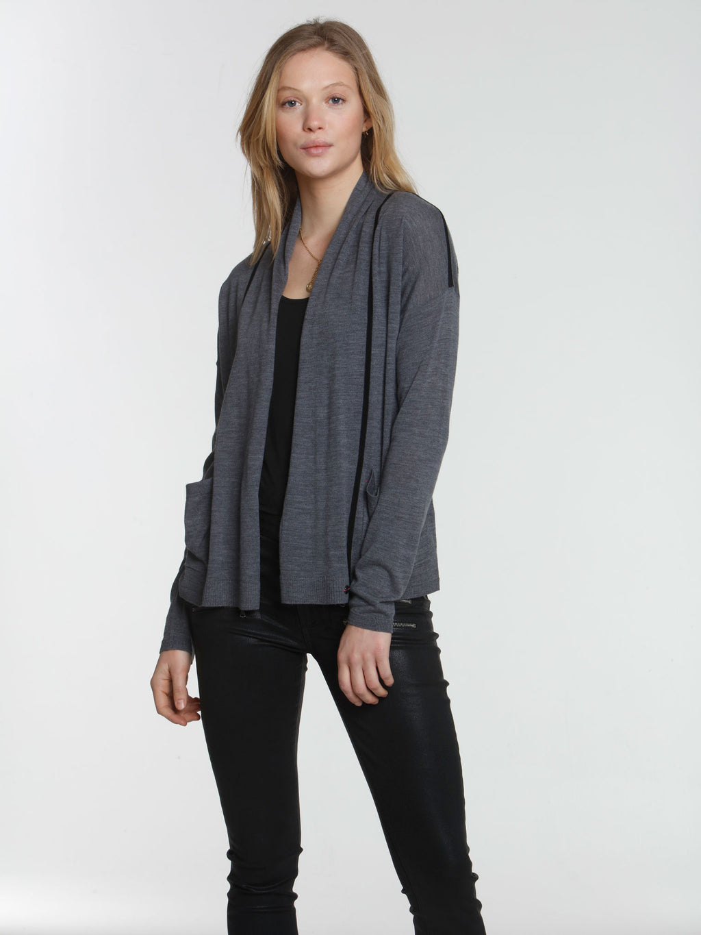 Brooklyn Drape Cardigan - Charcoal