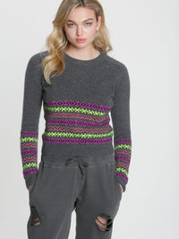 Button Back Fairisle - Charcoal