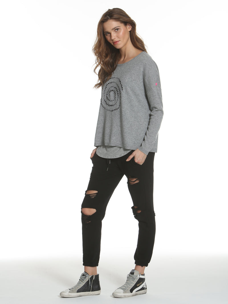 Luxe Spiral Crew - Grey