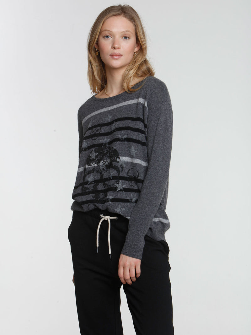 Starlet Stripe Crew - Charcoal