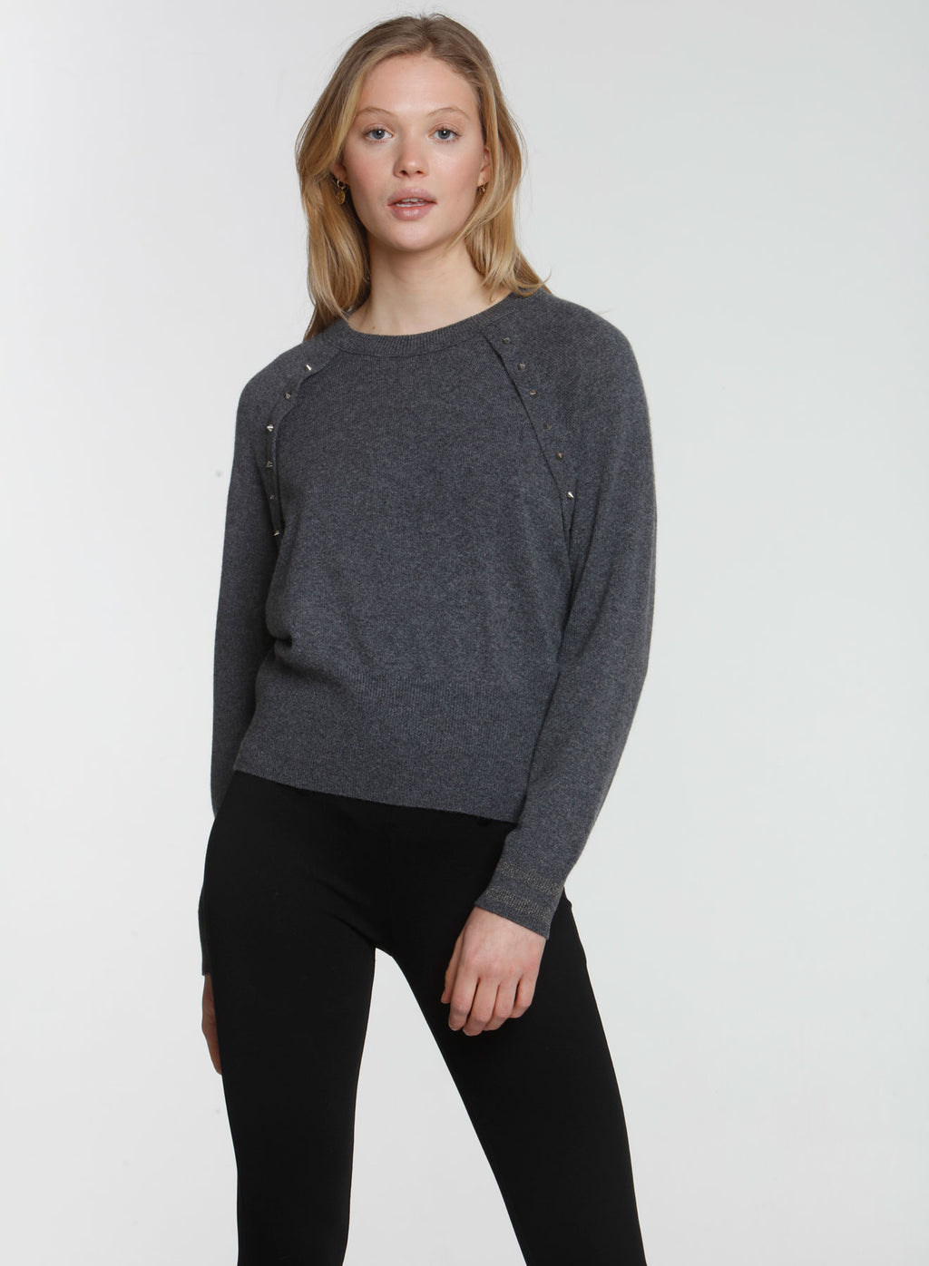 Studded 80s Dolman - Charcoal