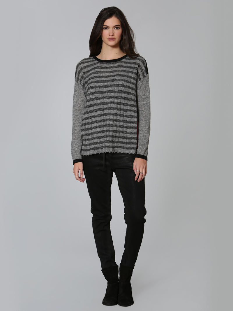 Cozy Striped Crew - Grey