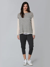 Cozy Striped Crew - White