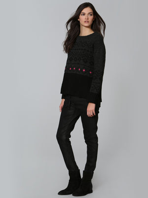 Cozy Fairisle Crew - Charcoal
