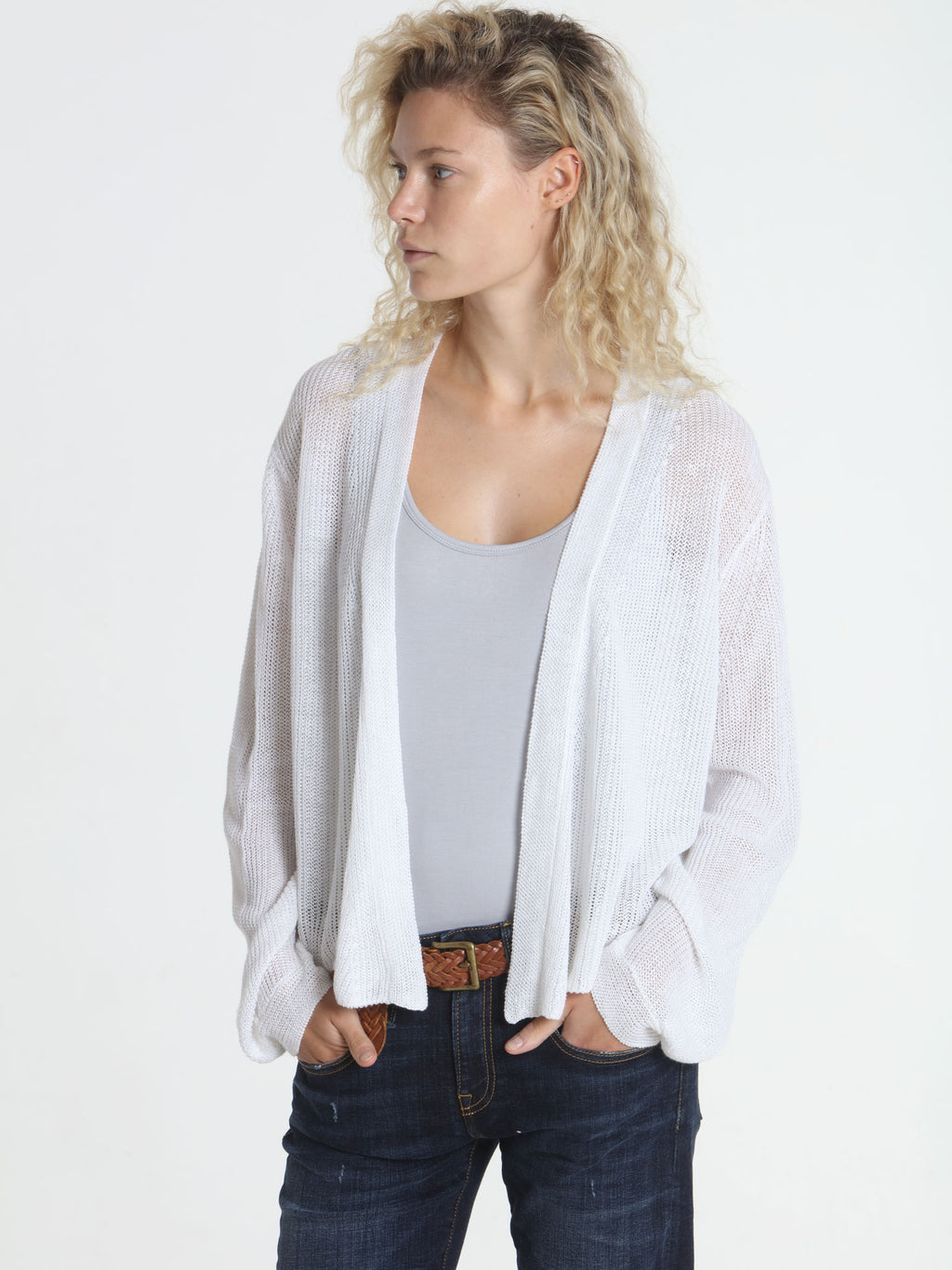 Ribbed Relax Cardigan - White