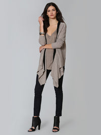 Luxe Cable Edge Cardigan - Taupe