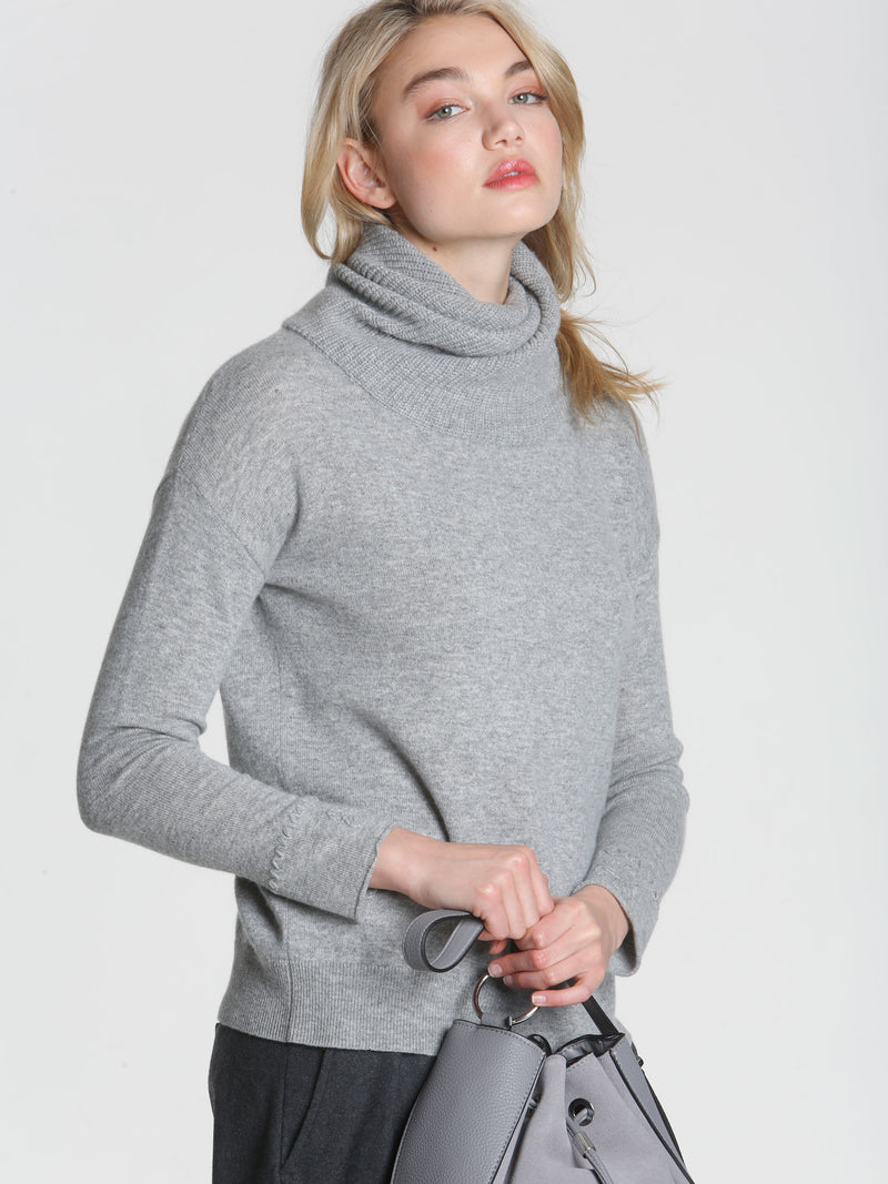 Twisted Scrunch Neck - Grey