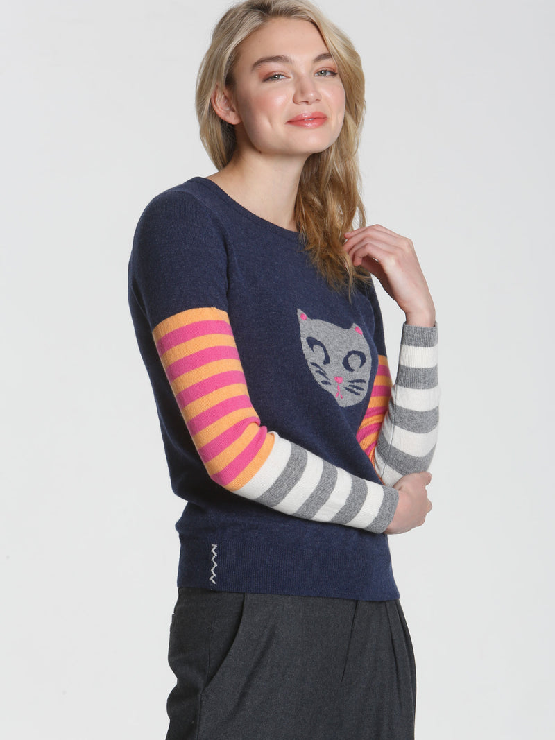Luxe Cat Head - Navy