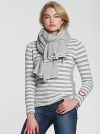 Striped Heart Scoop - Grey