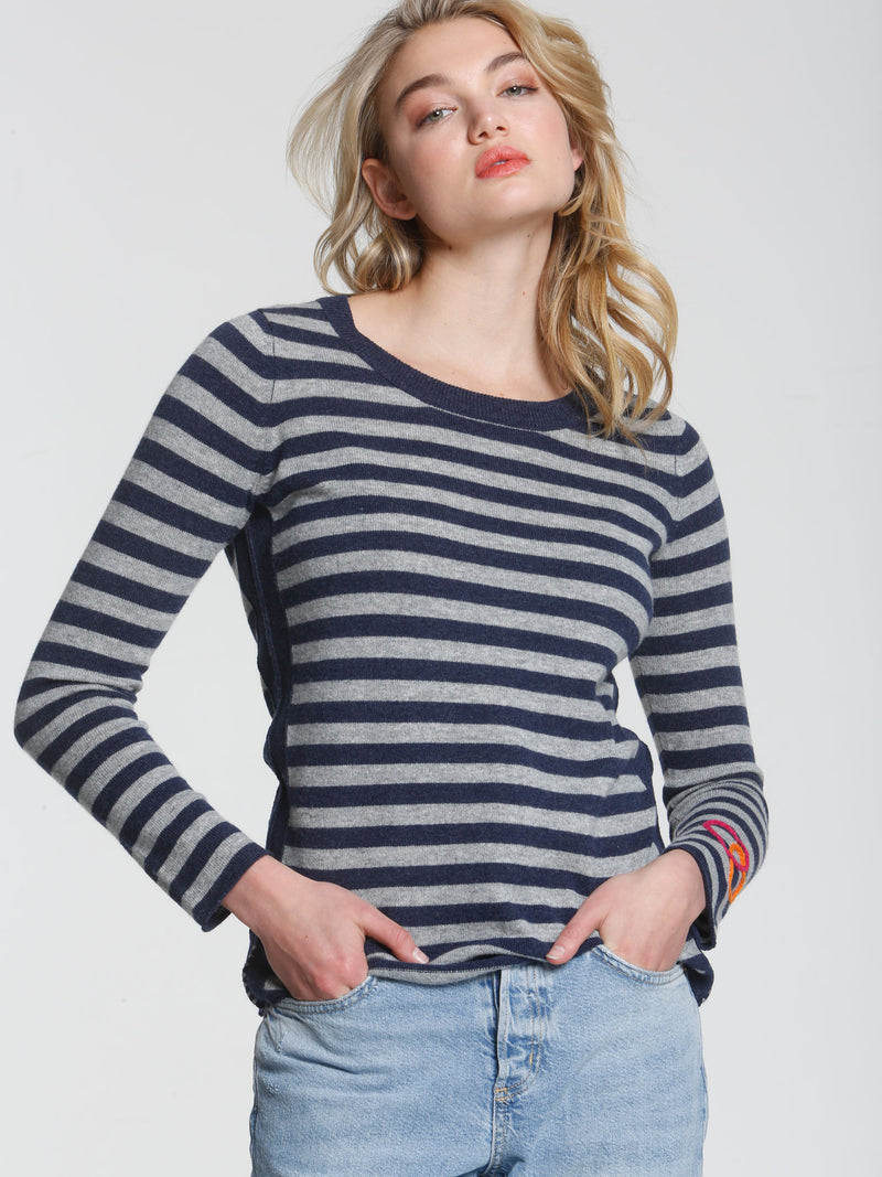Striped Heart Scoop - Navy