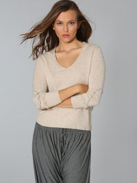 Luxe Elbow Patch Vee	- Barley