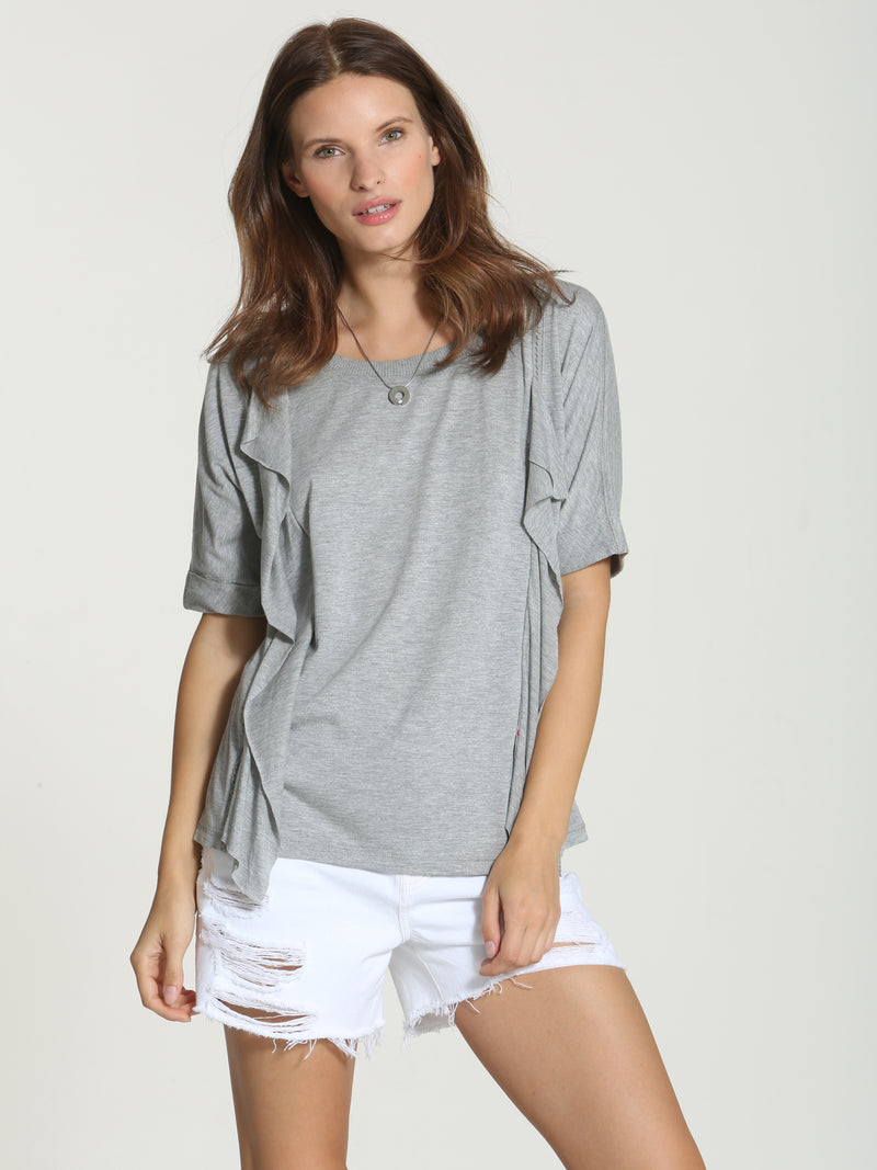 Cut Ruffle Tee - Grey