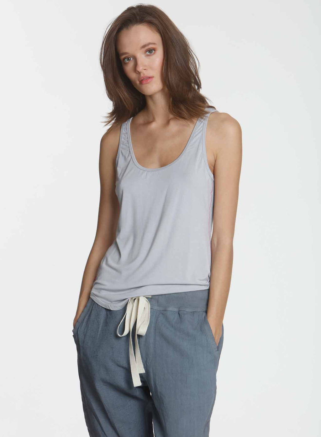 Simply Soft Shirttail Tank - Silver