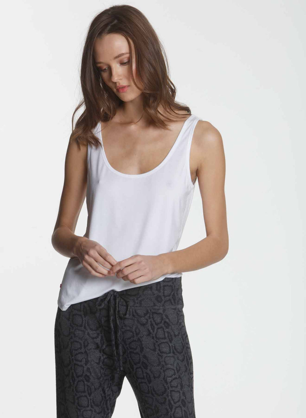 Simply Soft Shirttail Tank - White